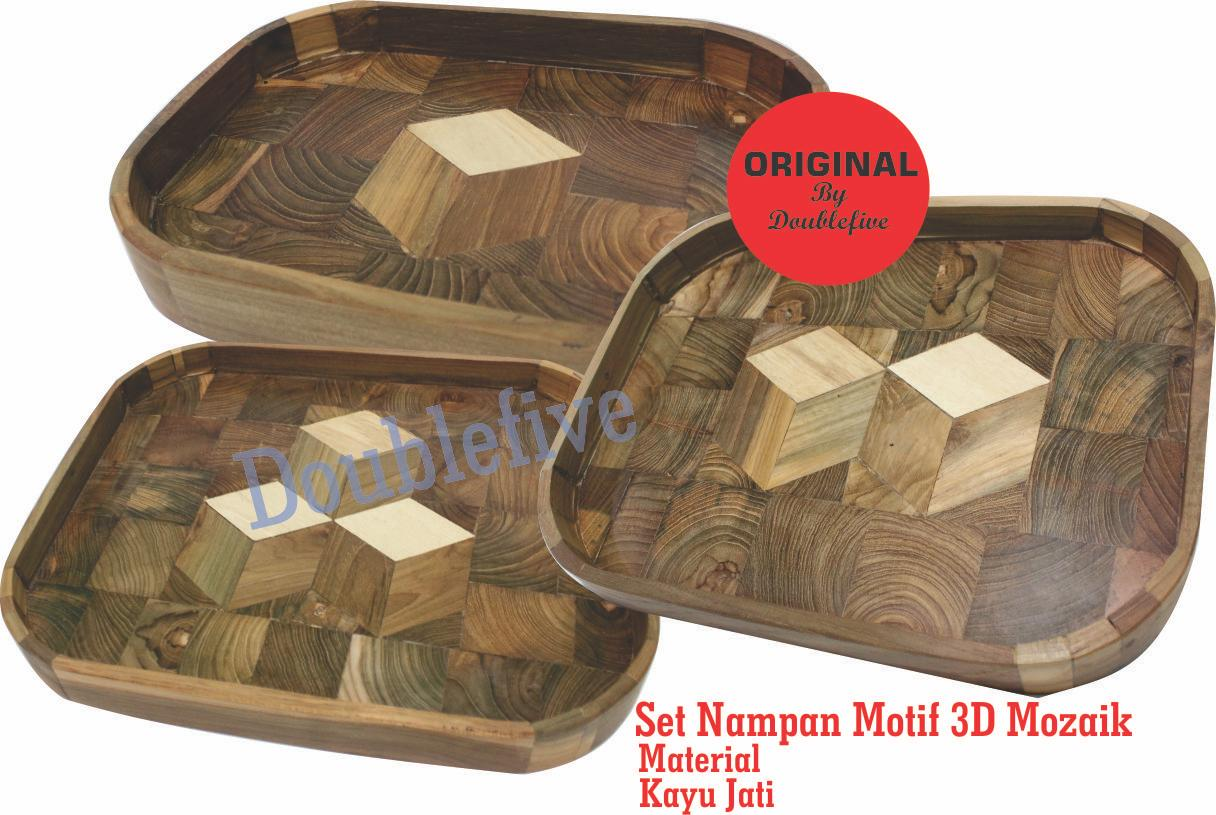 baki kayu - nampan kayu jati unik Oval satu set isi 3 Model 3D Mozaik ukuran
