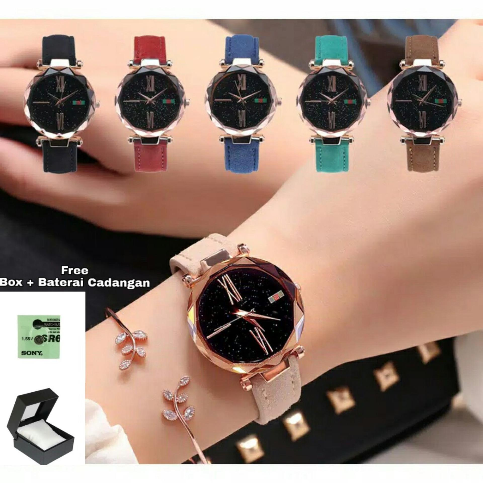 jaya shop jam tangan wanita kaca crystal quartz tali kulit FREE BOX dan  BATERAI CADANGAN BISA 3252f6883b