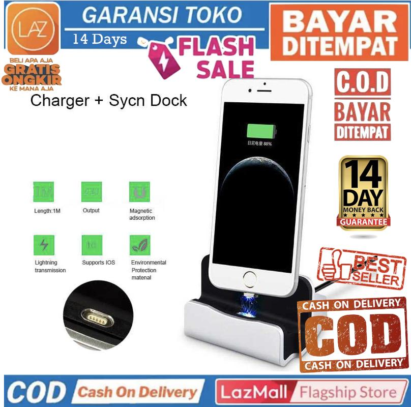 Bisa COD / Bayar di Tempat Charging Dock Magnetic Smartphone for iPhone Apple Lightning Quick Charge Cas Base Laz COD Graha Expo