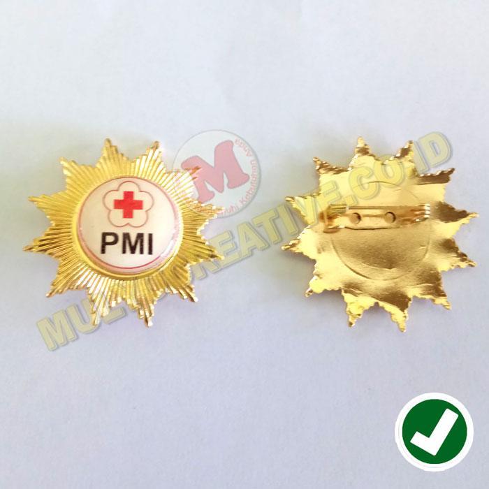 Pin PMI - Palang Merah Indonesia - Emblem Bros Badge PMI - Logam Kuningan / 4pcs
