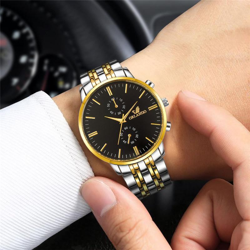 Orlando Jam Tangan Baja dengan Penyetel Bagian Muka Jam, Jam Tangan Pria Warna Emas dari