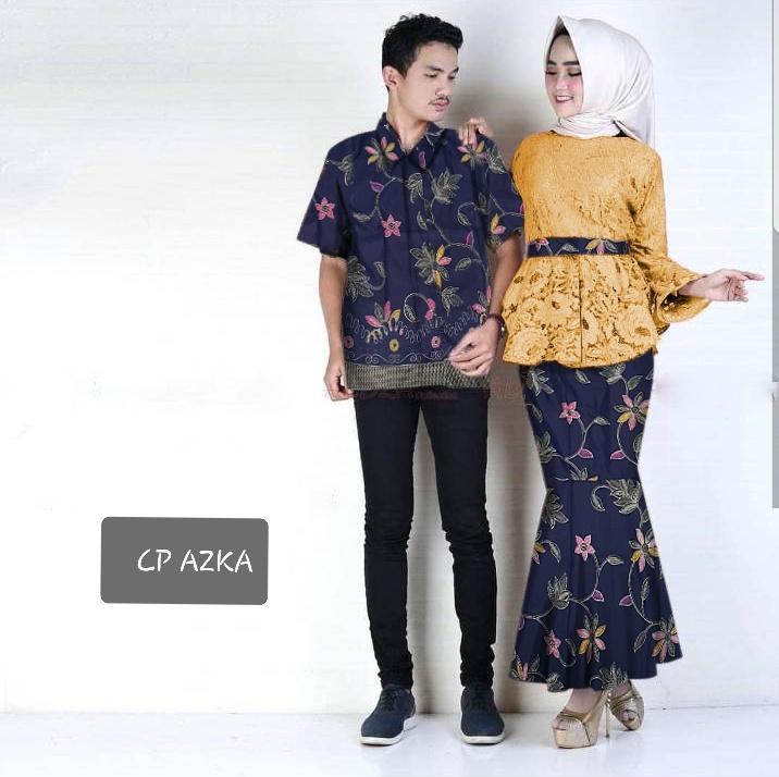 T-OS Baju Pasangan Couple Alza Kemeja Pria Dan Setelan Wanita Atasan Brukat Plus Rok