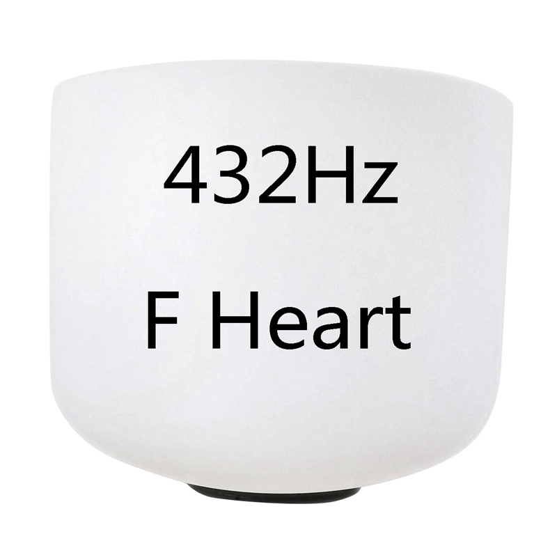 8 Inch 432Hz Singing Bowl Perfect Sound Note F Heart Chakra Frosted Quartz Crystal Meditation with Rubber Ring
