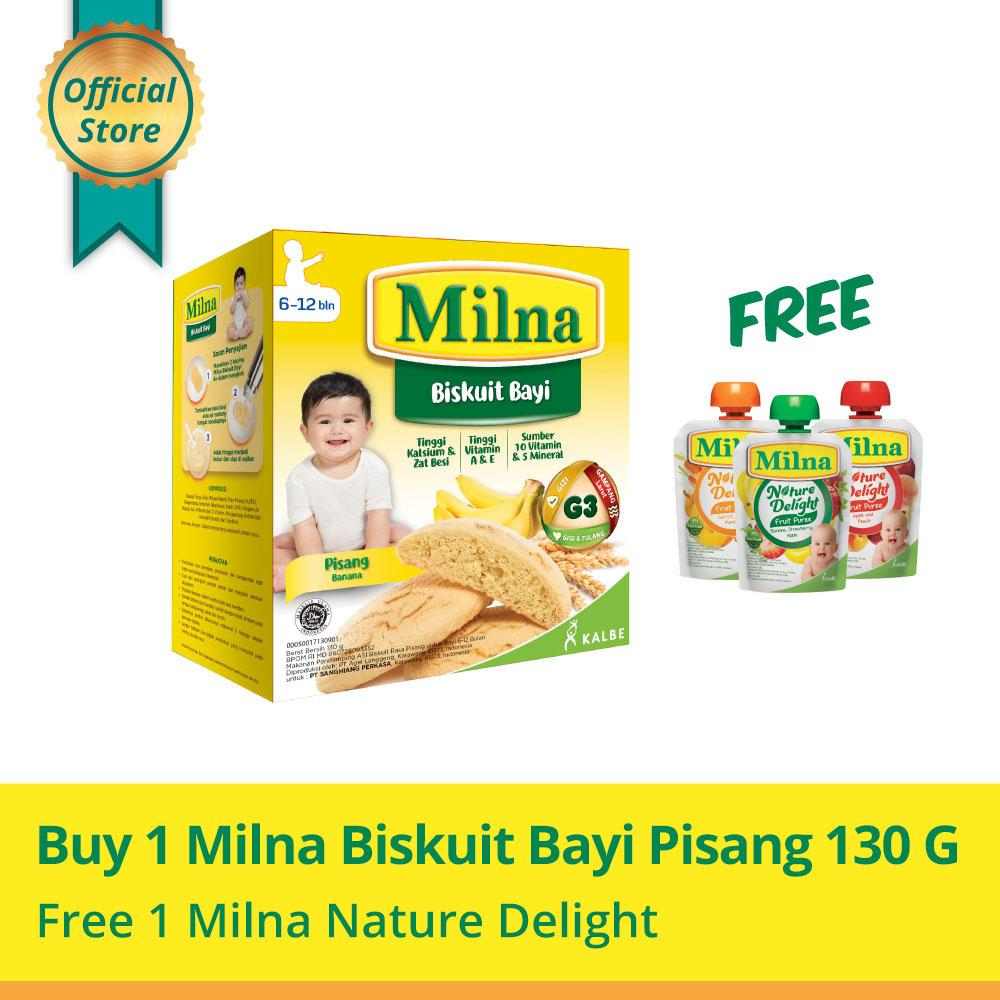 Buy 1 Milna Biskuit Bayi Pisang 130gr Free Milna Nature Delight By Kalbe Home Delivery.