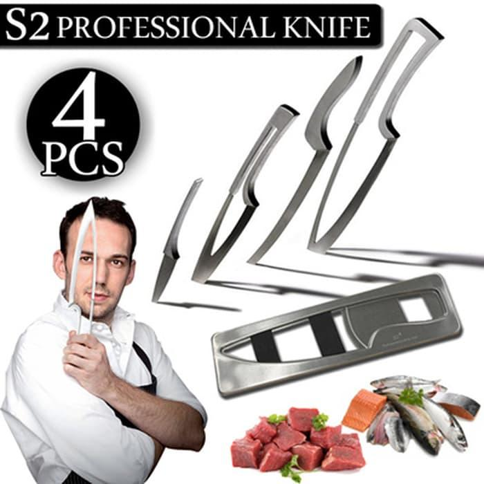 Crazy 8 Profesional Knife For Chef S2 - 4 Pcs + 1 Holder By Harga-Gila.