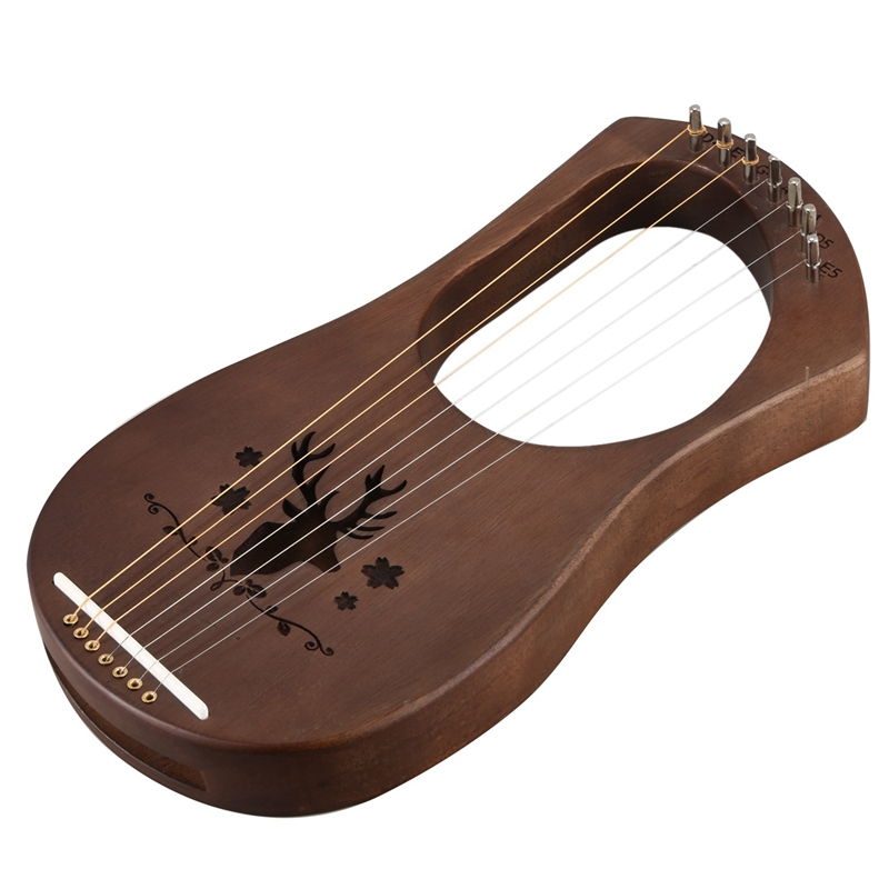 7-String Lyre Harp Strings Solid Mahogany Wood String Instrument with Carry Bag Tuning Tool