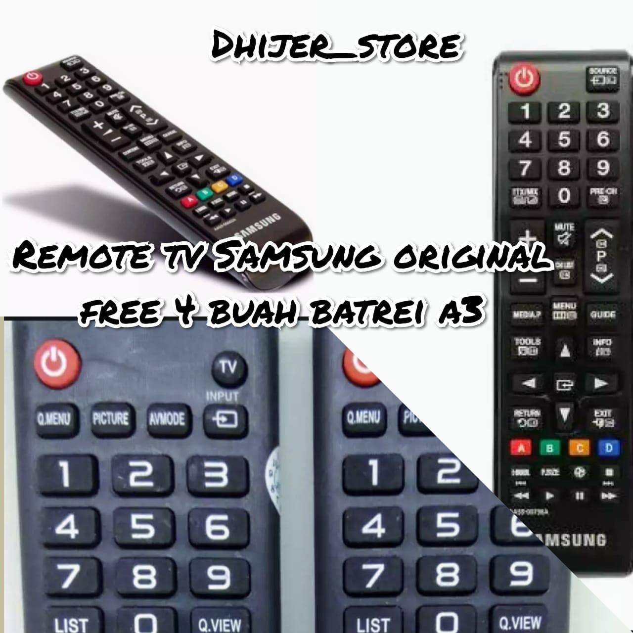 Remote TV Samsung Original 100% - Samsung LCD/LED Remote TV + Free 4 Buah Batrei a3.