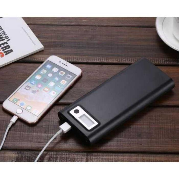DIY Power Bank Case USB Type C Dual Output & LCD 8x18650 - Hitam