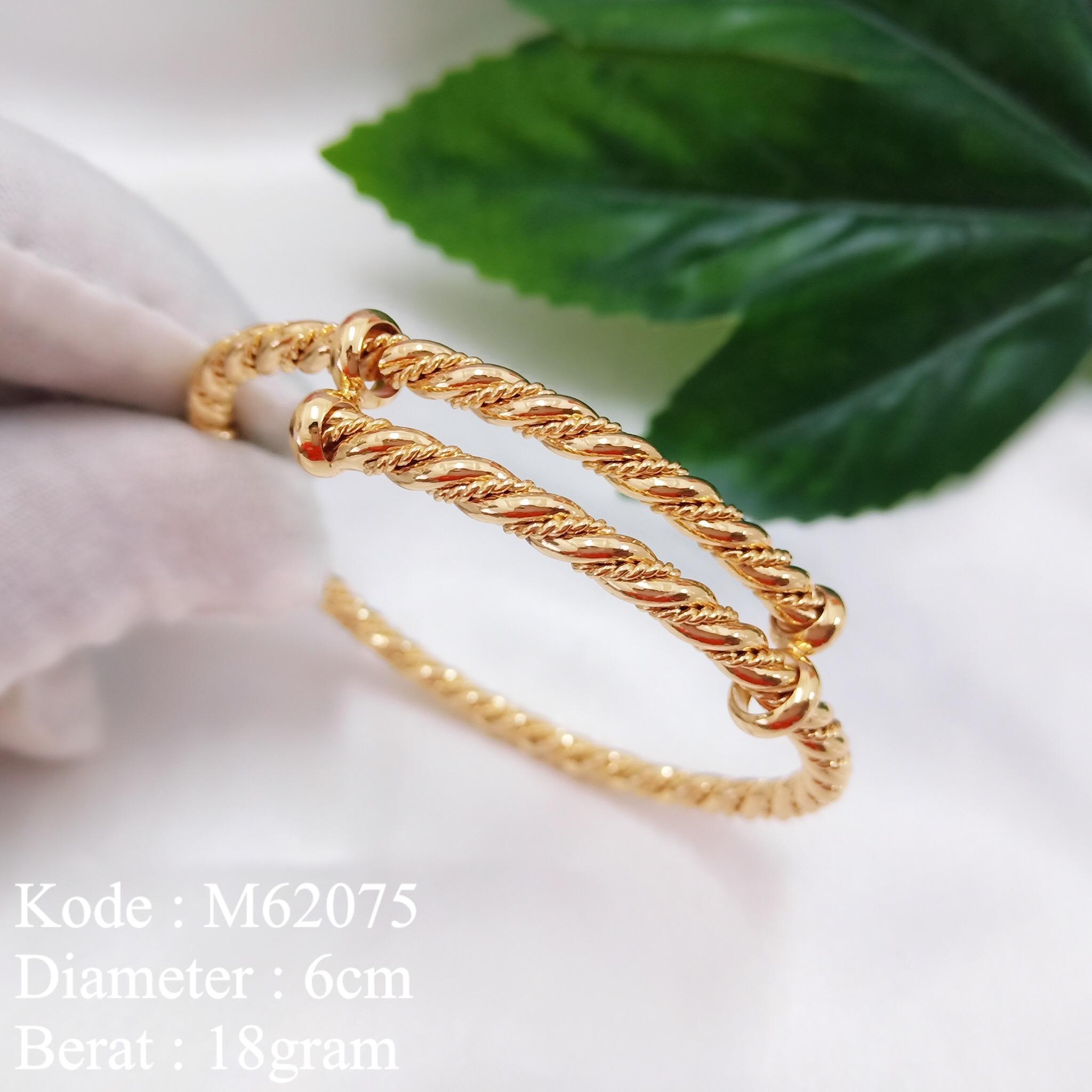 Gelang Tangan Bulat Lapis Emas Motif Tarik Missi fashion Jewelry