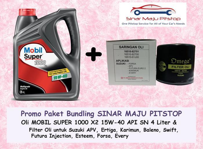 Paket Oli MOBIL SUPER 1000 15W-40 & Filter Oli SUZUKI FUTURA INJECTION