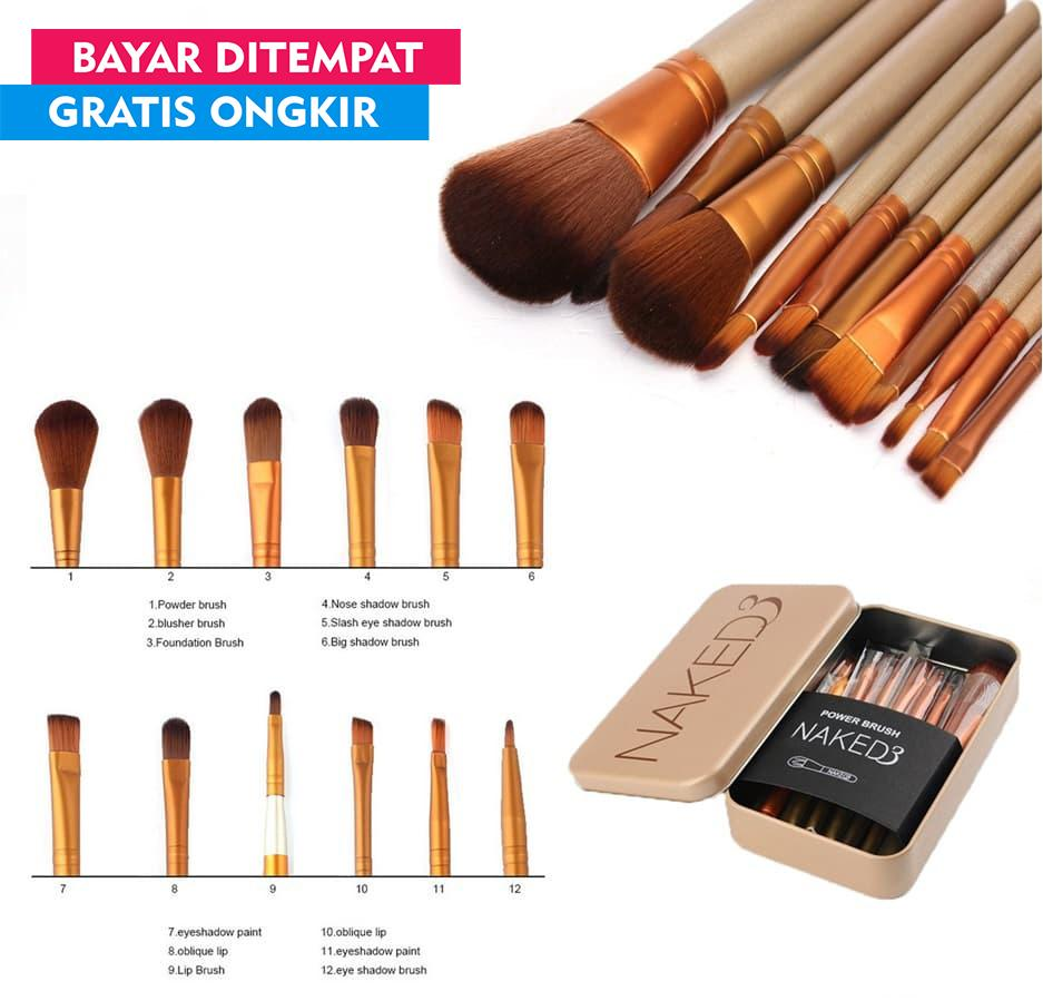 Lajanda - Kuas Make Up Set Lengkap Naked3 isi 12 pcs-Brush 12 in 1