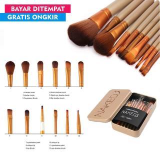 Kuas Make Up Set Lengkap Naked3 isi 12 pcs-Brush 12 in 1 Kemasan Kaleng thumbnail