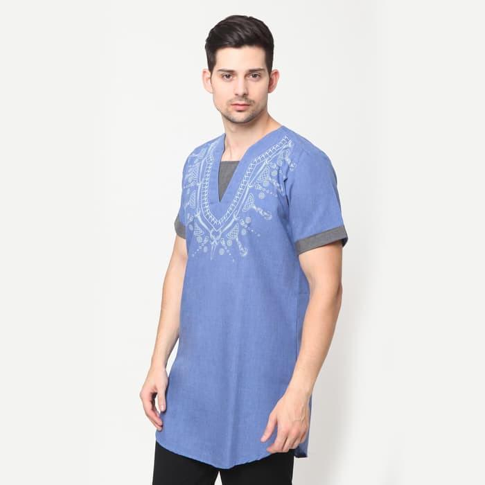 Harga Promo!!! Promo Fadly Print Ss Okechuku Baju Kurta Pakistan Fashion Muslim Pria Biru Muda M Diskon By Gilang.official.