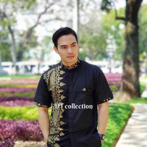 Harga Dt Collection Kemeja Hem Batik Pria Lengan Pendek Kerah Koko  Kombinasi Motif Koko Anjani Emas ae37ae4bb3