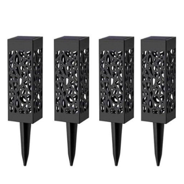 4 PCs LED Solar Garden Lights Outdoor Lawn Light Path Lamp for Patio Yard and Garden Warm White