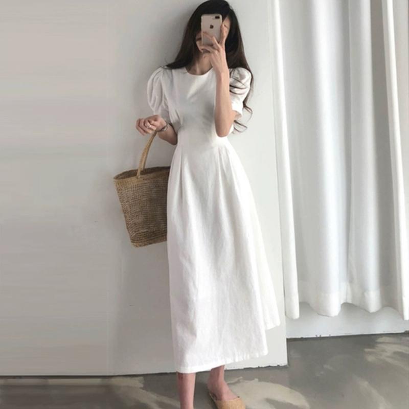 2020 Mẫu Mới Ánh Sáng Gió Kiểu Pháp Phong Cách Retro Cotton Đầm Nữ Mùa Hè Gió Nhẹ Nhàng Bó Eo Tôn Dáng Khí Chất Váy Dài