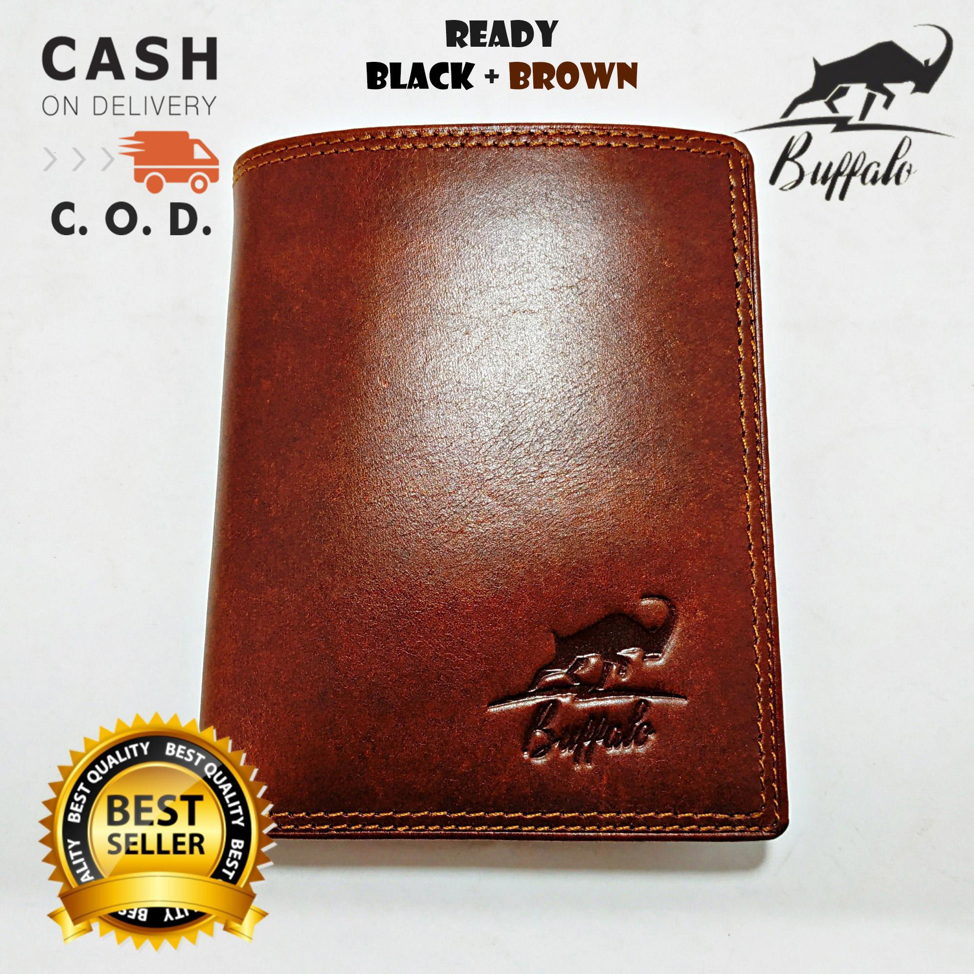 Buffalo Dompet Pria 100% Kulit Asli Model Lipat Dua atau 2 Double Casual Vintage Banyak