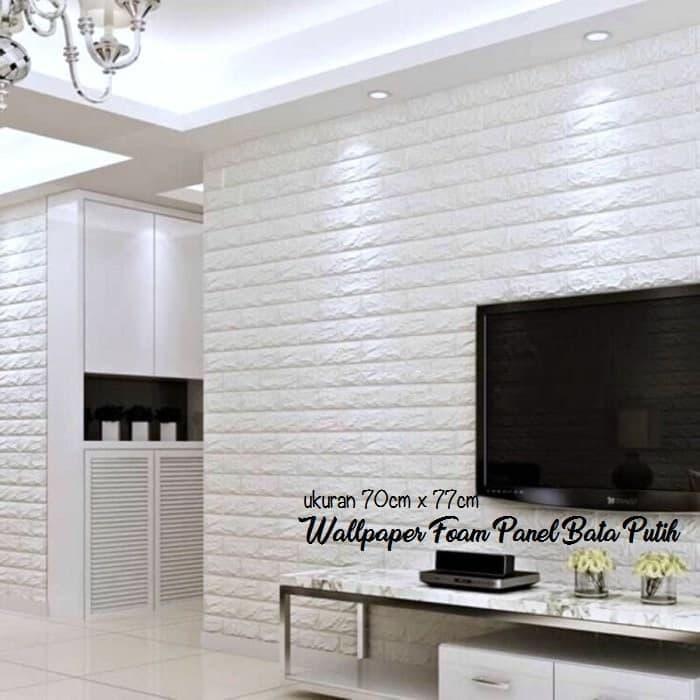 Wallpaper brick foam / sticker dinding GLOSSY Wallpaper Dinding Foam 3D Batu Bata Putih Size 70