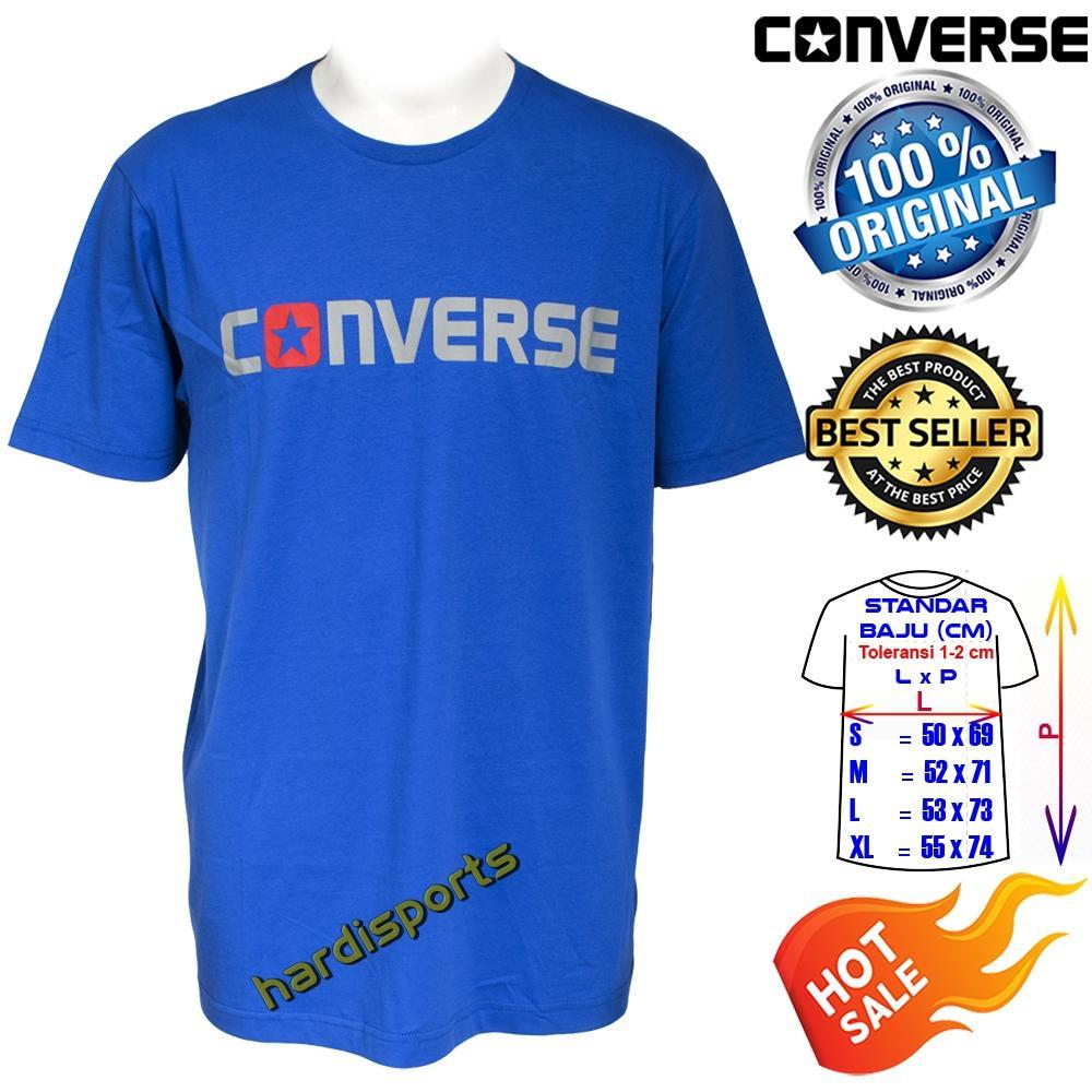 Kaos Pria Converse Wordark Mens T-Shirt (M) CONX8MT106BL -Blue