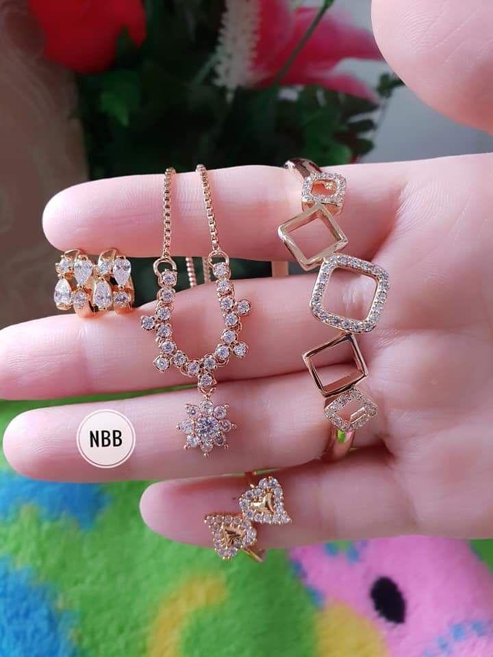 Set kalung permata cincin love terbaru xuping lapis emas 18 k