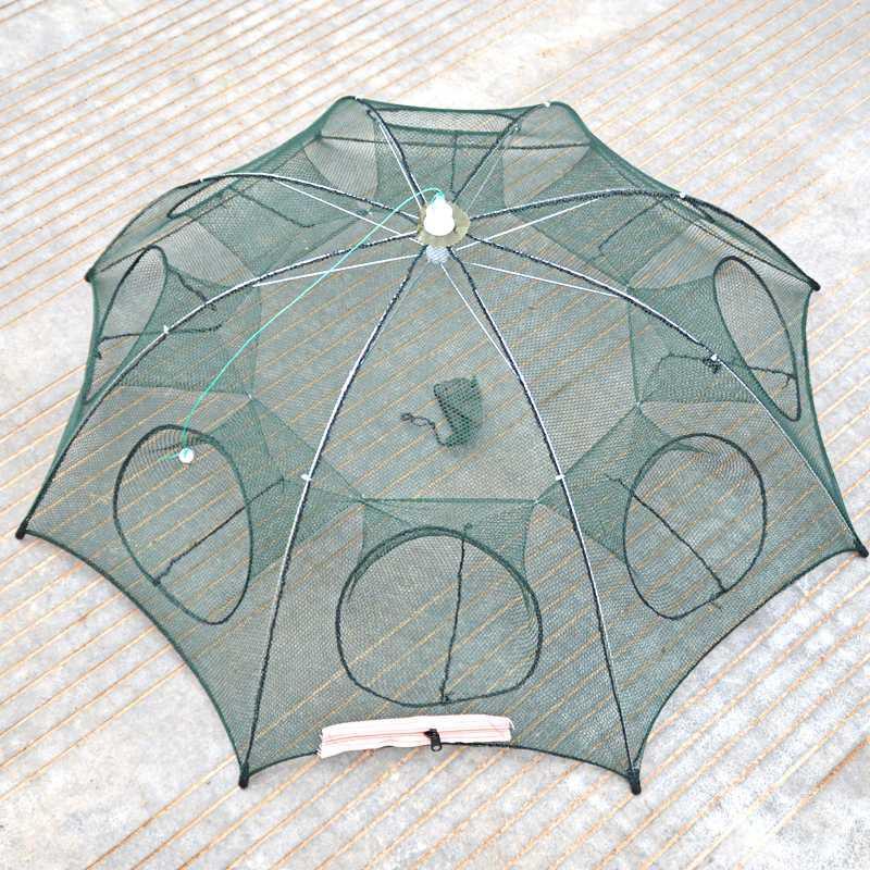 Jaring Pancing Ikan Hexagonal 8 Hole Fishing Net Trap Cage Alat Penangkap Menangkap Perangkap Udang Lobster Belut Jala Ikan Kecil Jaringan Akseoris Memancing Tambak Ikan Fish Net Trap Foldable s7929 - Hijau