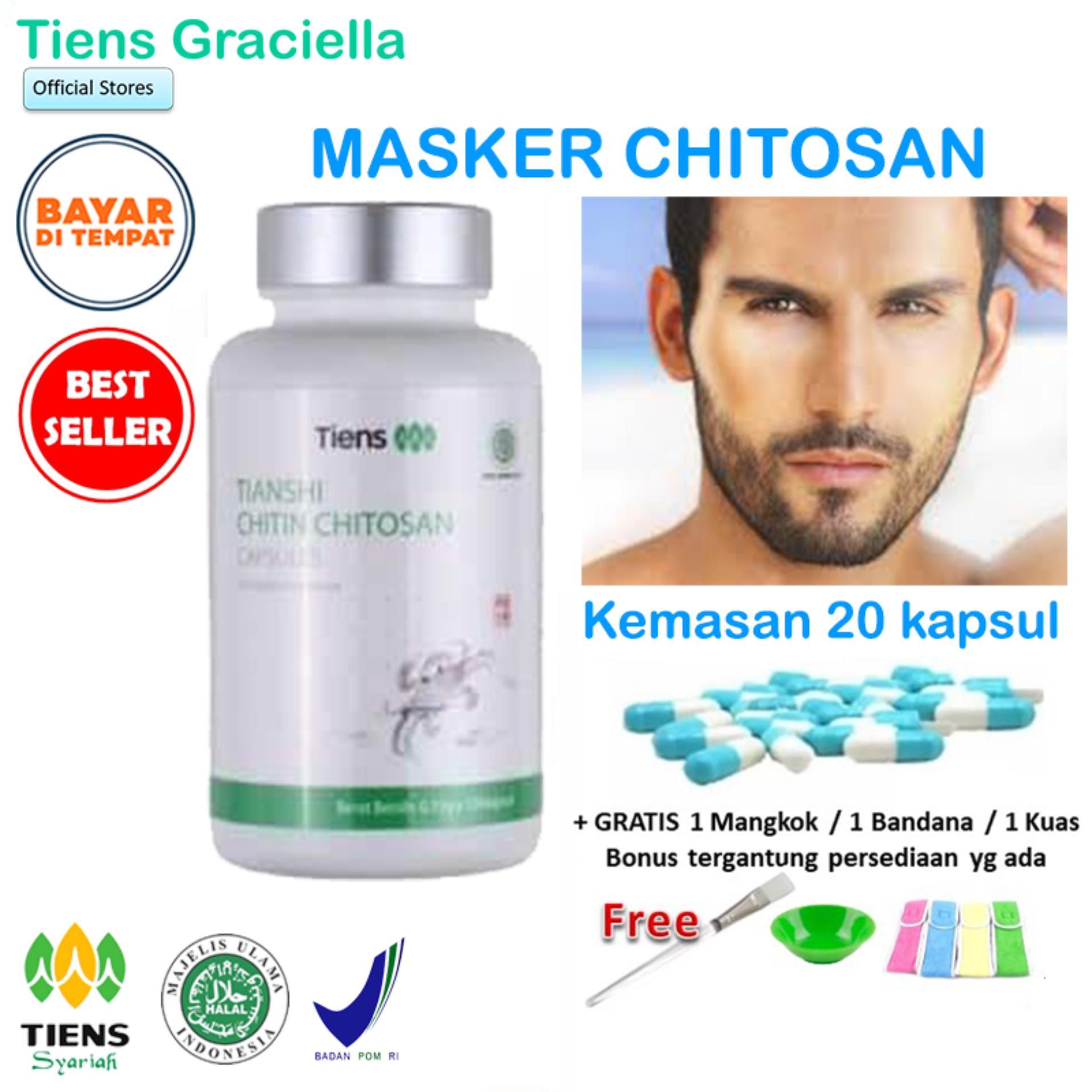 Tiens Chitosan Masker Jaman Now untuk Cowok Ganteng Jerawatan - Paket Promo Banting Harga 20 Kapsul