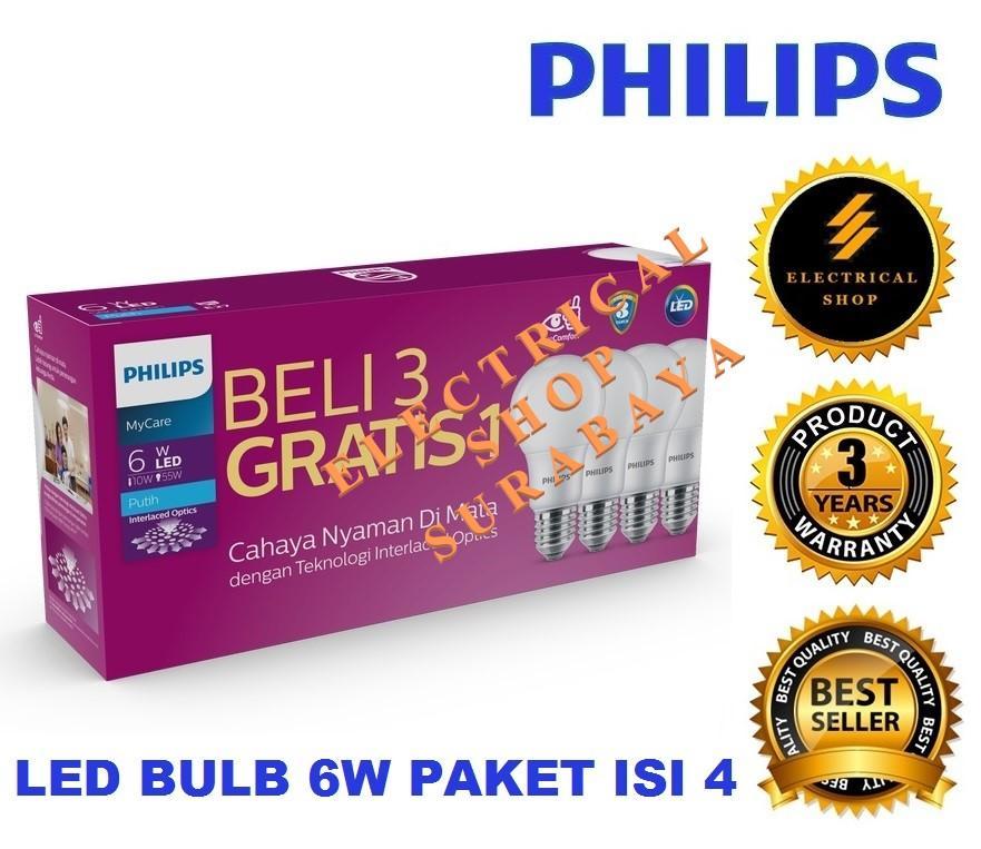 PHILIPS LAMPU LED BULB MULTIPACK MYCARE 6W / 6 WATT PUTIH (BERGARANSI 3 TAHUN) PAKET 3 GRATIS 1