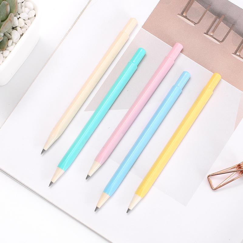 Imut Warna Permen Sederhana dan Elegan pensil 0.5/0.7mm murid pensil segitiga tiang Otomatis dikenal Isi pensil Alat tulis