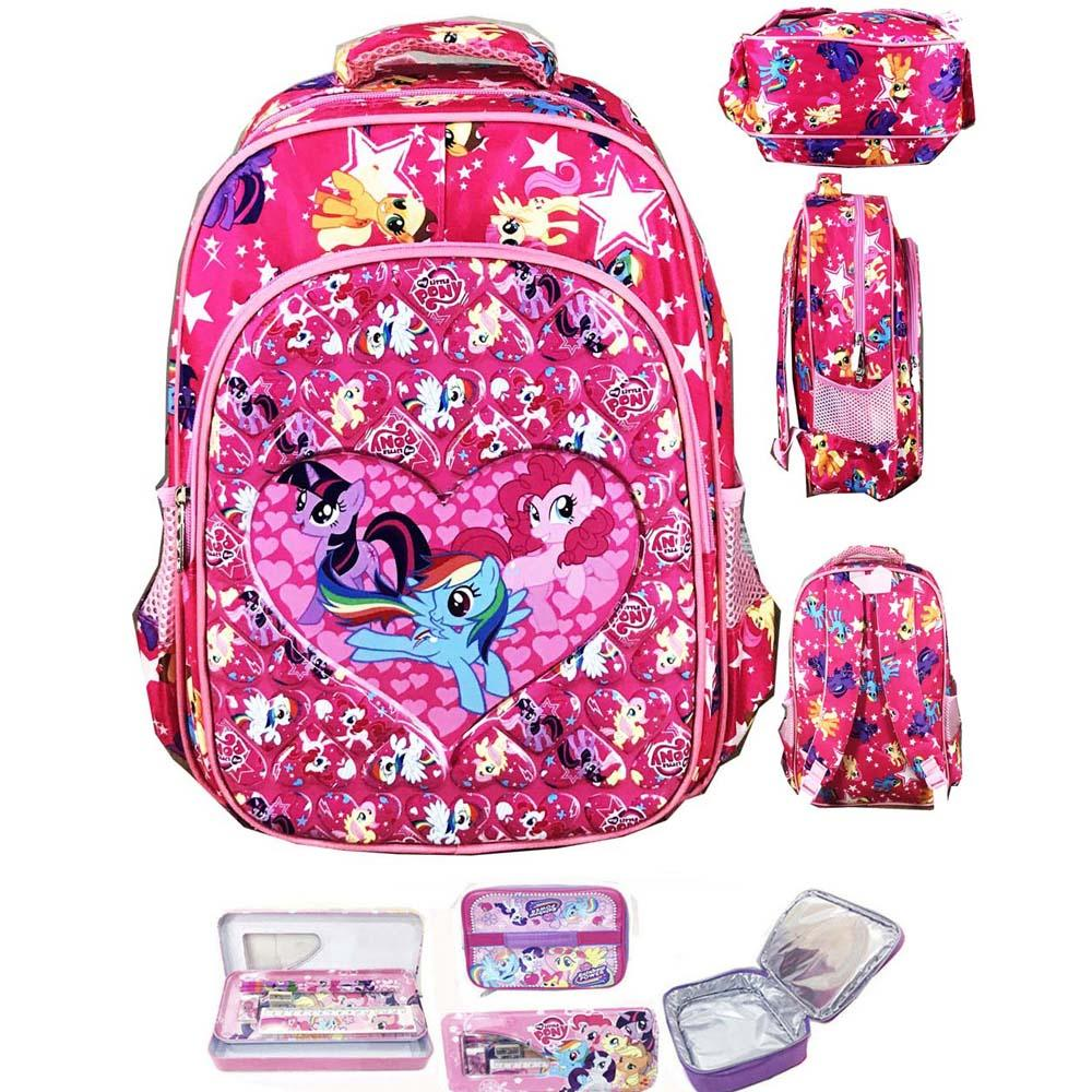BGC Tas Ransel Sekolah Anak TK My Little Pony Love IMPORT High Quality + Lunch Bag
