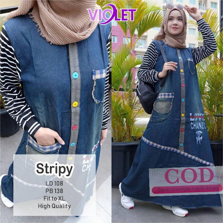 Stripy Dress / gamis bahan bahan jeans / long dress / pakaian wanita / baju muslimah  / Baju Gamis Wanita Terbaru 2019 / Gaun Pesta Long Dress Muslim