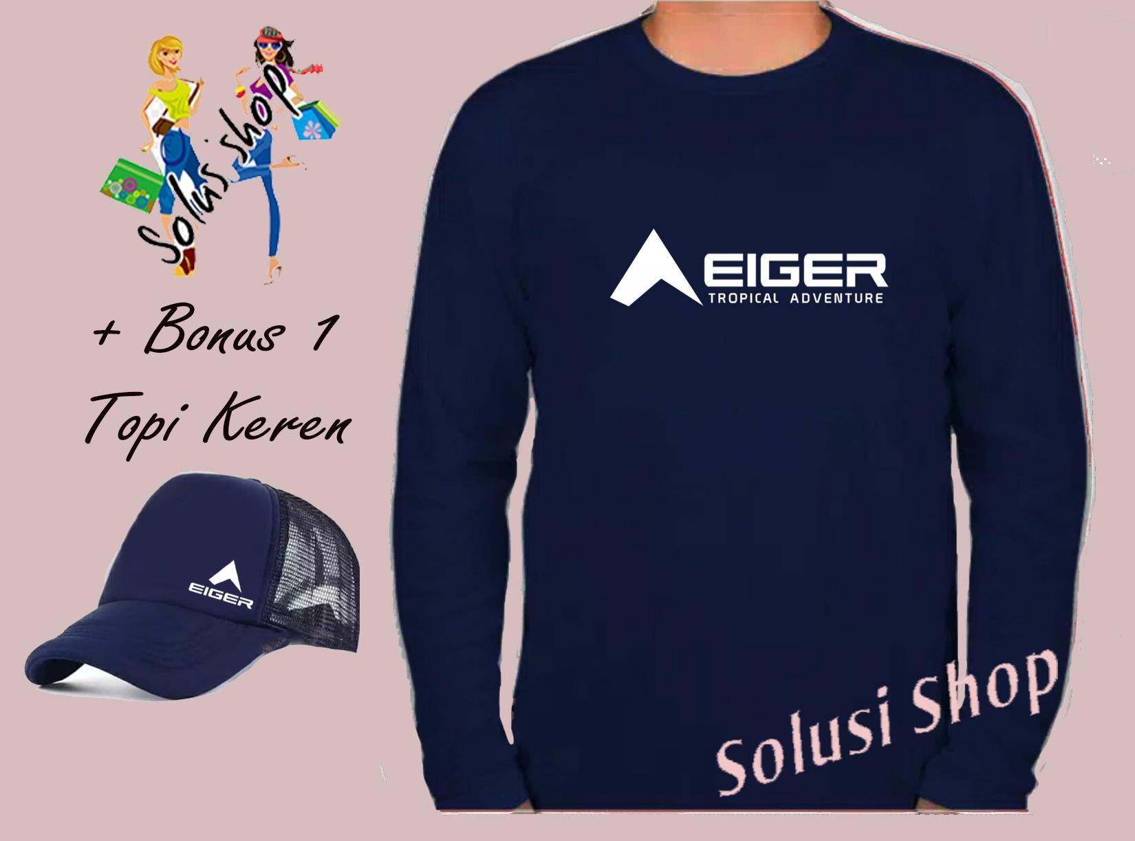 PROMO...! Baju Kaos Lengan Panjang Eiger Adventure Logo Samping Putih + Topi Keren Premium Solusi Shop