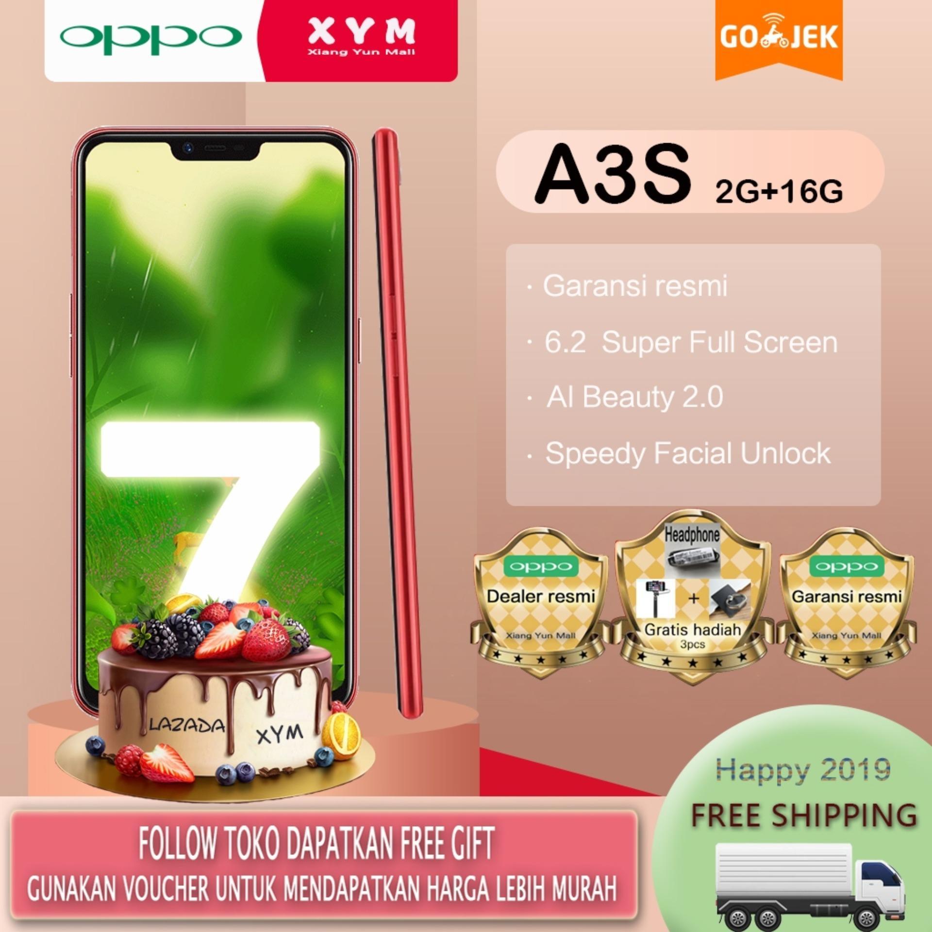 OPPO A3s hp 2G/16G - COD, Gratis Ongkir, 6.2 Super Full Screen, Speedy Facial Unlock, Garansi resmi [ Please use the voucher ]