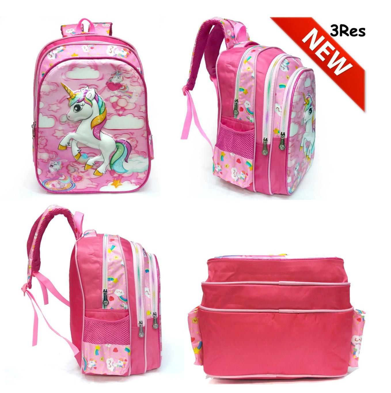 Onlan NEW TAS ANAK Full Motif Ransel Anak SD Motif Anak Perempuan LOL – Little Pony – Tsum Tsum – Frozen – Unicorn – Hello Kitty 5D Timbul Import 3 Kantung ...