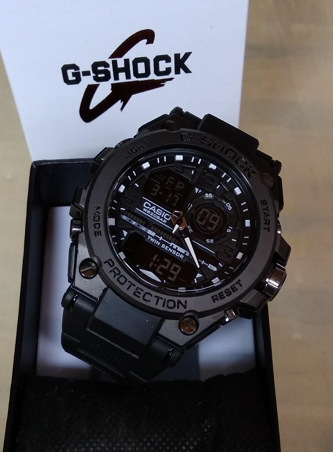 PROMO JAM TANGAN SPORT PRIA CASIO G SHOCK_GST8600 FULL BLACK TAHAN AIR / WATERR RESIST TERBARU