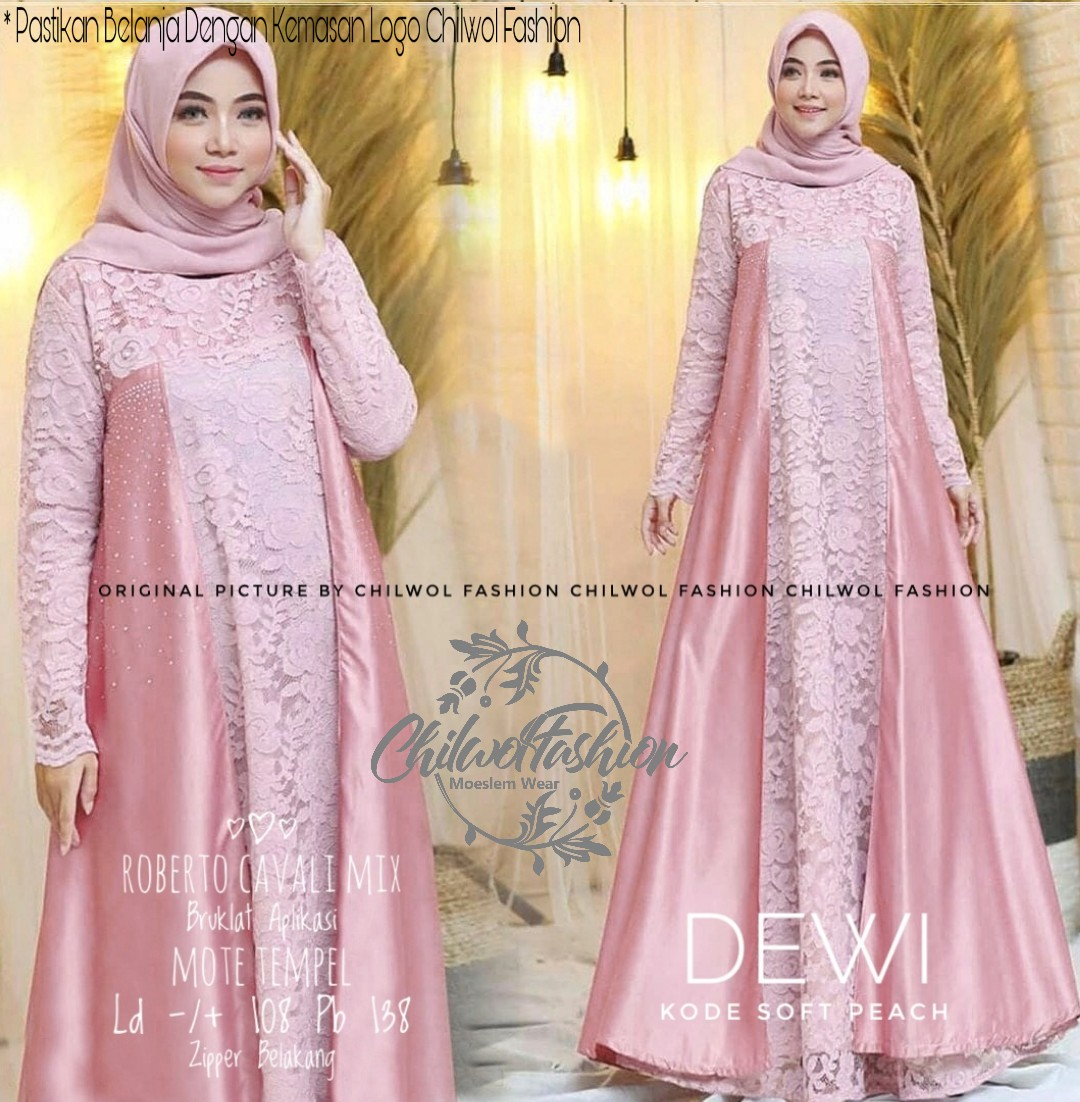 DEWI DRESS BROKAT TILE / DRESS VINTAGE / BAJU PESTA / GAMIS KONDANGAN