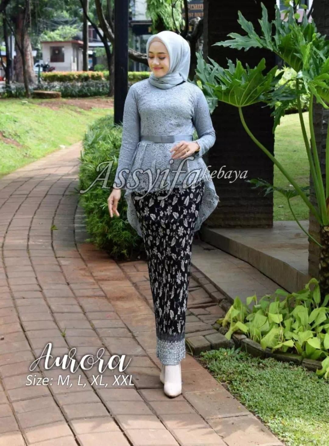 Setelan Kebaya Aurora Brukat Modern Hijab Remaja Style Modis Cantik Brokat Setelan Pakaian Baju Kebaya Kebaya Tradisional Kebaya Wisuda Kebaya