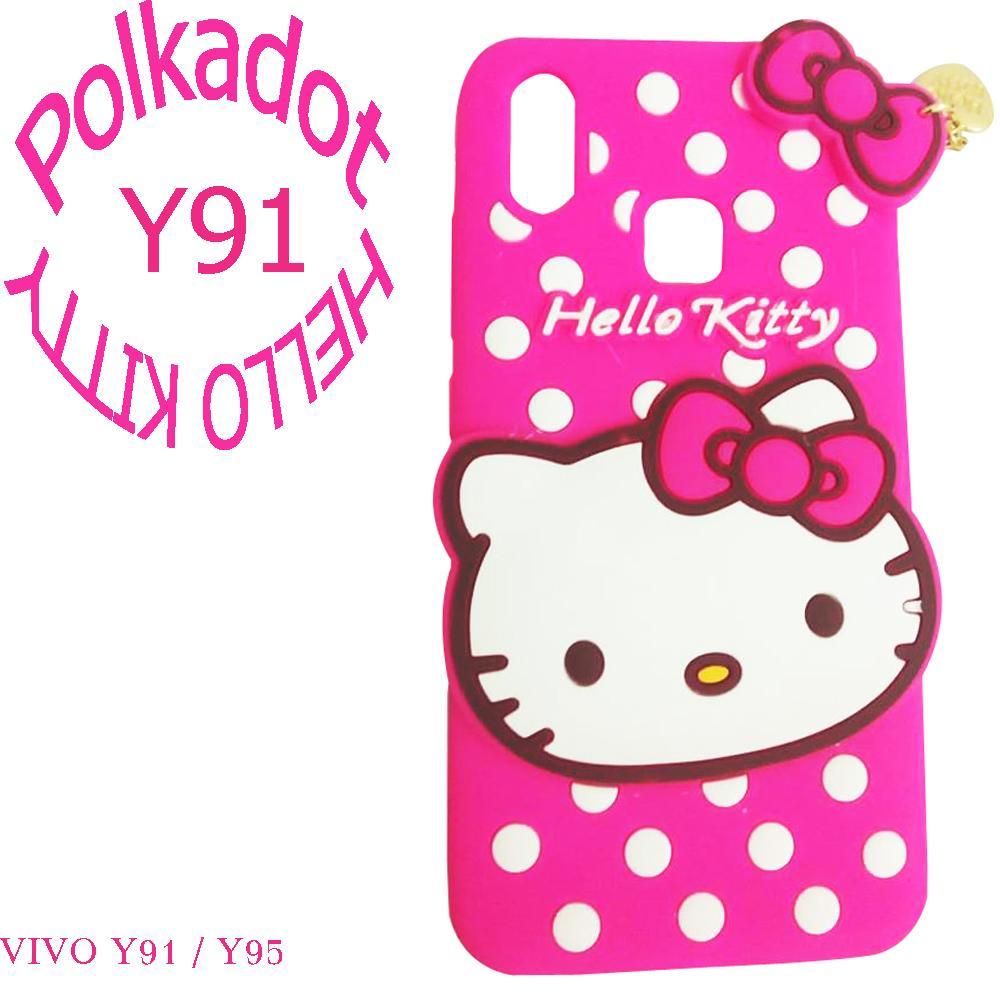 Softcase 3D Sylicon Case For VIVO Y95 Boneka Timbul 4D Karakter HELLO KITTY POLKADOT - ABS