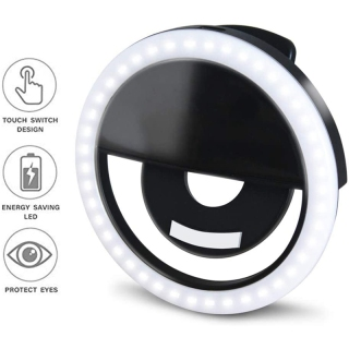 LED Selfie Ring Light Circle Clip-on Selfie Fill Light with 36 Led Bubbles USB Rechargeable for iPhone Smart Phones thumbnail