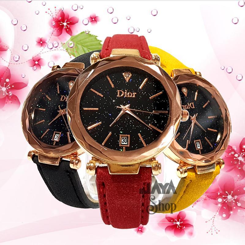jaya shop jam tangan wanita kaca crystal DR Diamond tali kulit  BISA BAYAR DITEMPAT (COD)- fashion wanita-jam tangan korea-jam tangan model terbaru
