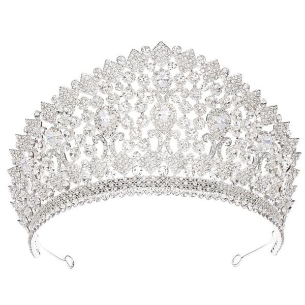 European and American Bride Headdress Temperament Queen Rhinestone Zircon Crown Wedding Hair Accessories Banquet Wedding Dress Accessories