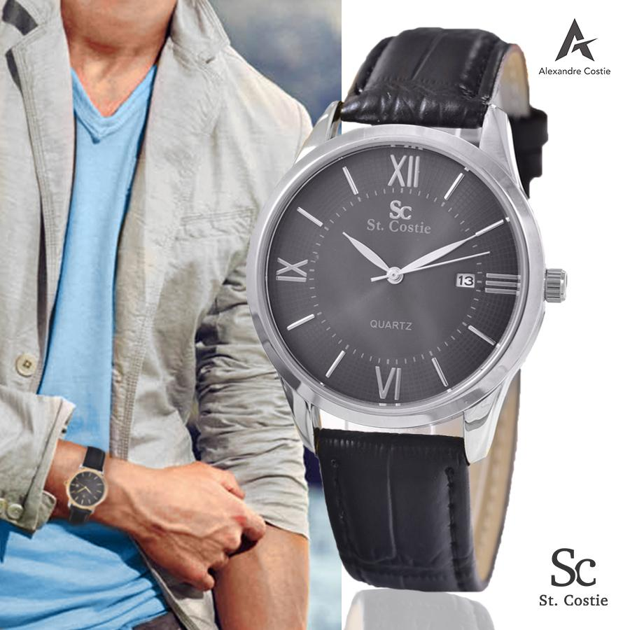 Saint Costie Jam Tangan Pria - SC8063A-G-TGL-Leather Band