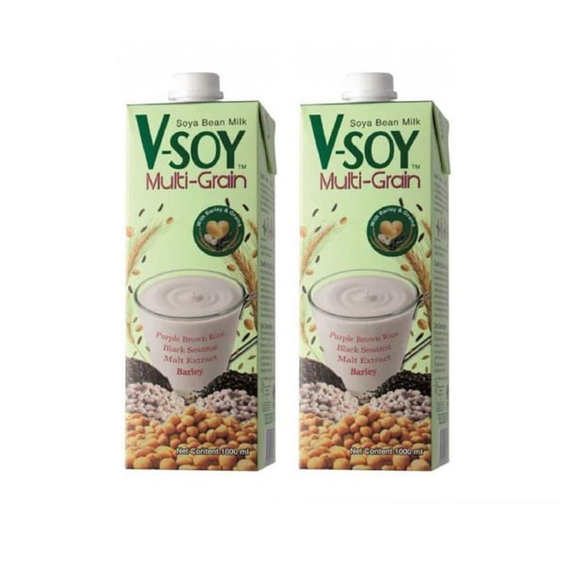 V Soy Multi Grain Soy Milk Uht 1 Liter Susu Kedelai Soya Low Sugar Lazada Indonesia