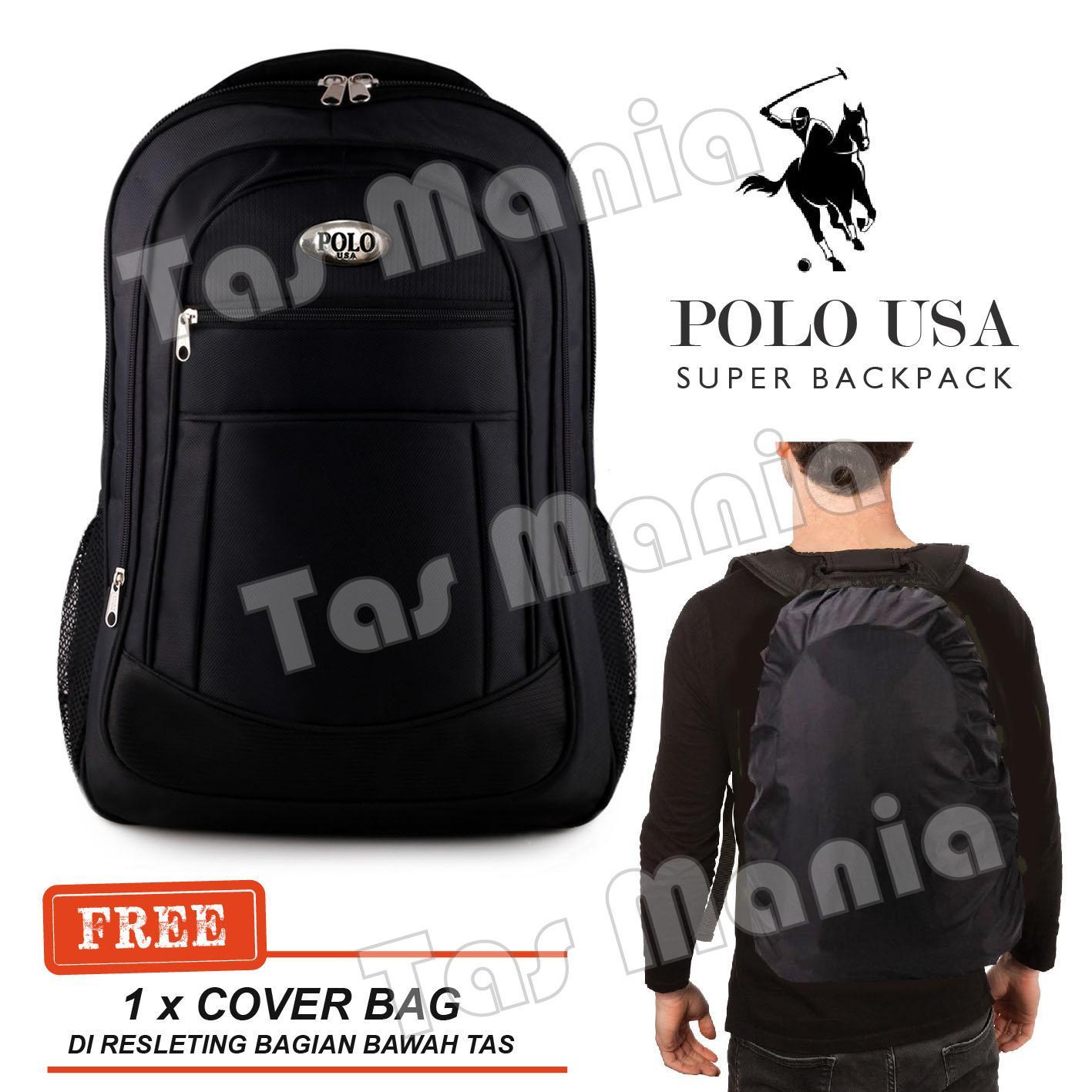 Tas Ransel Pria Polo USA Laptop Backpack + FREE Raincover Promo Diskon  Import Kulit Tas Kantor d2a27201a2
