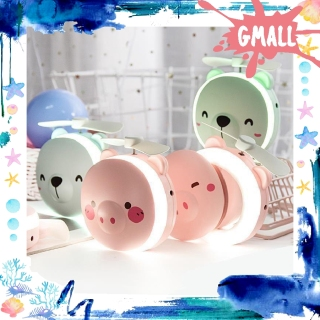 GiantMall - CERMIN LAMPU LED Mini Fan Kipas karakter 3 In 1 Portable USB Kaca Rias Make Up Murah R191 thumbnail
