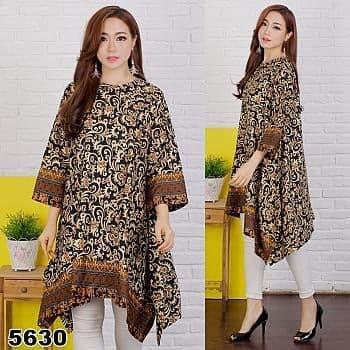 JS - Jumbo Tunik Motif Batik / Atasan Wanita Jumbo / Tunik Muslimah / Baju Jumbo Casual / Size Fit XXXL / COD-BAYAR DITEMPAT