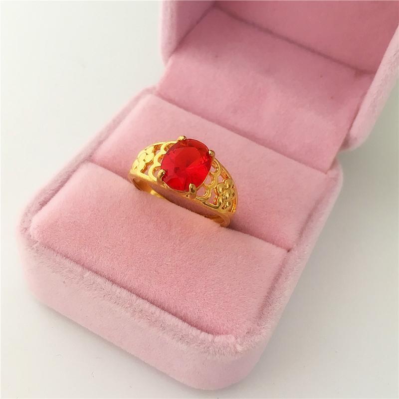 Model baru imitasi vietnam Endapan Emas Zirkon Cincin cincin Euro 24k tembaga berlapis emas miniatur batu