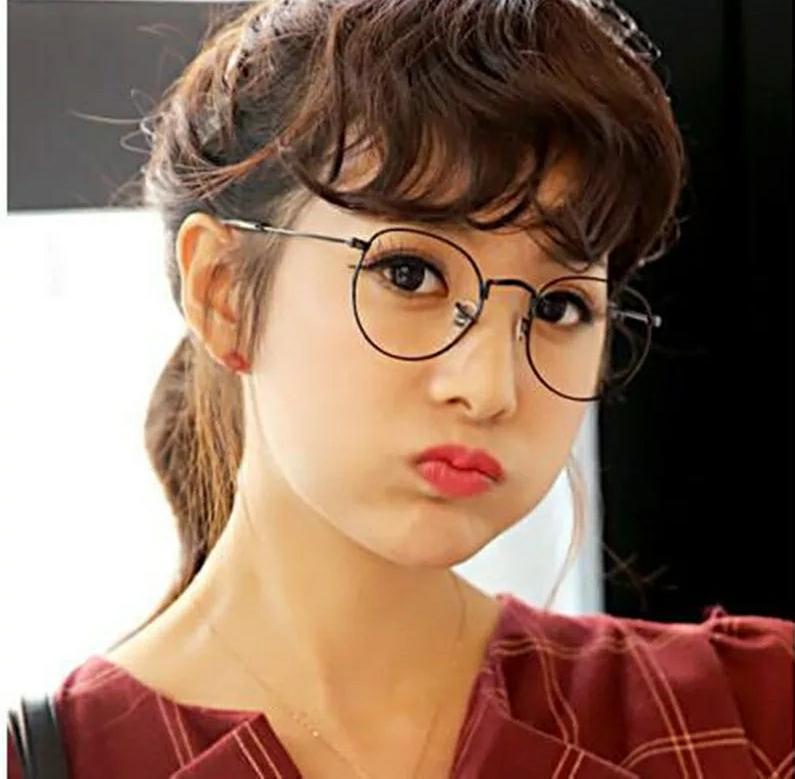 JBS Kacamata Wanita Oval Gaya Retro Vintage Frame Eyeglasses Mewah Transparan Jhon Lennon Multicolor Diameter 4,7cm Kcm03