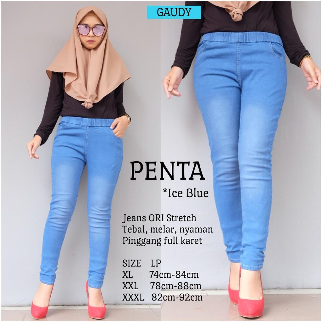 Legging Jeans Celana Legging Wanita Pinggang Karet Model Skinny Street Soft Jeasn Denim Ripped Lazada Indonesia