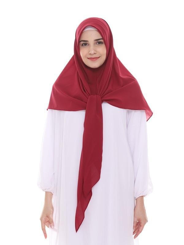 Bellia Hijab - Kerudung Instan Segi Tiga Diamond Georgate Jilbab Instan Kekinian - [ Warna Merah ]