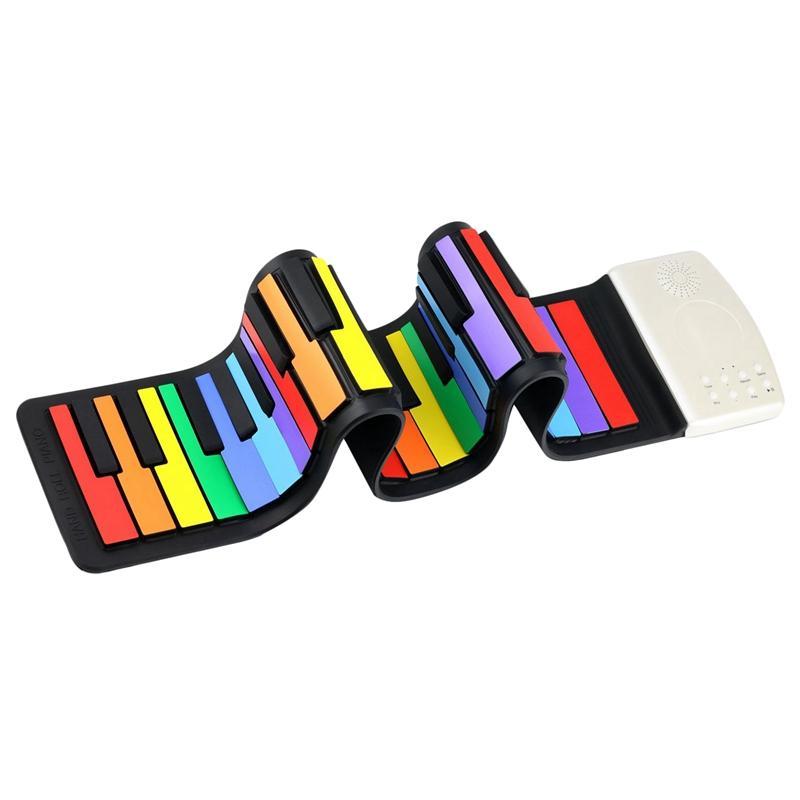 Color 49 Standard Keys Flexible Kids Piano Keyboard Flexible Roll Up Keyboard Piano Built-In Lithium Battery Completely Portable